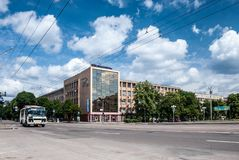Cherkasy, Ukraine - June 02, 2013: Cathedral Square. Cathedral Square in the center of Cherkassy. View to Main Post Office. Soviet architecture royalty free stock photo