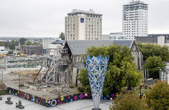 Cathedral Square with The Chalice and badly damaged Christchurch Cathedral by the 2011 earthquake. Christchurch, New Zealand - February 2016: Cathedral Square Stock Images
