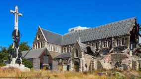Cathedral Square in Christchurch, South Island, New Zealand royalty free stock image
