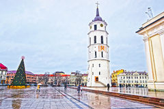 Cathedral square with Christmas tree and Gediminas Bell tower in Royalty Free Stock Photo