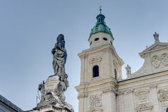 Cathedral square Domplatz located in Salzburg, Austria stock images