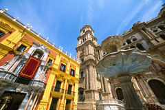 Cathedral Square and the episcopal palace in Malaga Royalty Free Stock Photos