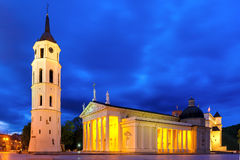 Cathedral Square in the evening, Vilnius. Royalty Free Stock Images