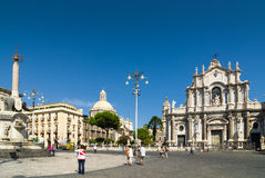 Cathedral Square, Fountain Elephant and Catania duomo. Sicily. Stock Photography