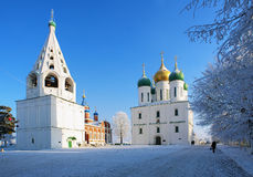 Cathedral Square in Kolomna Kremlin in winter Royalty Free Stock Images