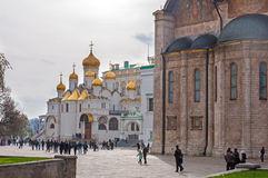 Cathedral Square in Kremlin, Moscow, Russia. landmark Royalty Free Stock Photos