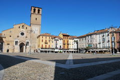 Cathedral and square in Lodi, Italy. Beautiful view of romanesque cathedral church and square in Lodi, Italy Royalty Free Stock Image