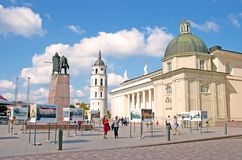 The Cathedral Square, main square of the Vilnius Old Town stock photo