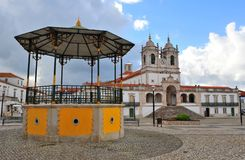 Cathedral square of Nazare old town stock photography