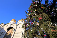 Cathedral Square with New Year Christmas  tree, Inside of Moscow Kremlin, Russia Royalty Free Stock Photos