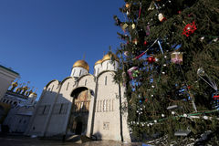 Cathedral Square with New Year Christmas tree, Inside of Moscow Kremlin, Russia stock photos
