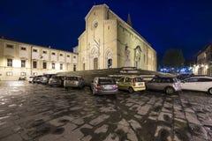 Cathedral square at night arezzo tuscany italy europe Royalty Free Stock Photos