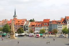 Panorama of Erfurt with square and Obelisk,Germany Stock Images