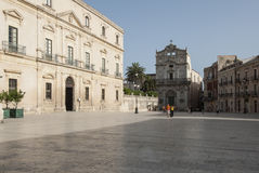 The cathedral square ortigia syracuse sicily Italy europe Stock Images