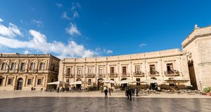 Cathedral Square - Ortygia Syracuse Sicily Italy. ORTYGIA ISLAND, SYRACUSE, ITALY - DEC 9, 2017: tourists and locals visit the Cathedral Square Piazza del Duomo Royalty Free Stock Photos
