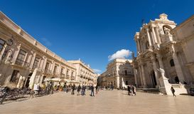 Cathedral Square - Ortygia Syracuse Sicily Italy Stock Photo