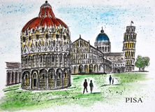 Cathedral Square in Pisa, Italy. Royalty Free Stock Photo
