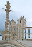 The Cathedral Square in Porto. With the medieval Pillory Column, decorated with carved patterns, Portugal Stock Photography