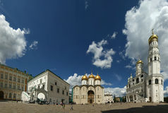 Cathedral Square or Sobornaya Square is the central square of the Moscow Kremlin Stock Image