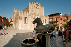 Cathedral square in Taormina, Sicily Royalty Free Stock Image