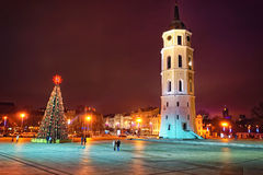 Cathedral square in Vilnius city at Christmas Stock Photos