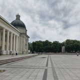 The Cathedral Square in Vilnius stock image