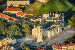 Cathedral square in Vilnius, Lithuania. Old Town of Vilnius, Lithuania. Aerial view from piloted flying object. Cathedral square in Vilnius, Lithuania Royalty Free Stock Photo