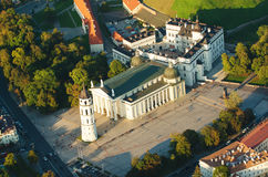 Cathedral square in Vilnius, Lithuania. Old Town of Vilnius, Lithuania. Aerial view from piloted flying object. Cathedral square in Vilnius, Lithuania Stock Photo