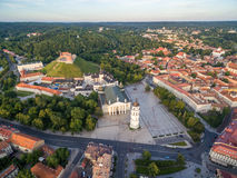 Cathedral Square in Vilnius Old Town. Gediminas Castle and Hill of Three Crosses, National Museum of Lithuania, Old Arsenal and Pa Stock Photography