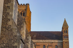 Cathedral of St Albans. Ancient cathedral of St Albans in the United Kingdom Stock Photos