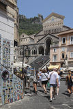 The Cathedral of St. Andrew, Amalfi. Built in the early 1200s, the cathedral features a dramatic location atop a steep flight of stairs, an Arab-influenced Royalty Free Stock Photos