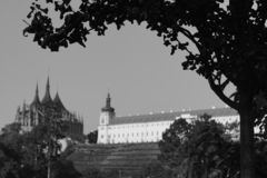 Cathedral st. Barbara and Jesuit college - art black and white foto. Kutna Hora, Czech Republic royalty free stock photo