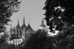 Cathedral st. Barbara, Jesuit college - art black and white foto royalty free stock photo