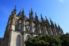 Cathedral of St. Barbara. Side view of the Church of St. Barbara in Kutna Hora - Czech Republic royalty free stock image