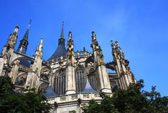 Cathedral of St. Barbara. Side view of the Church of St. Barbara in Kutna Hora - Czech Republic royalty free stock photography