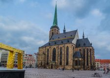 Cathedral of St. Bartholomew in the main square of Pilsen Plzen, Czech Republic. Cathedral of St. Bartholomew in Pilsen Plzen, Czech Republic stock photos