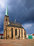Cathedral of St. Bartholomew (Plzeň). This picture shows the Cathedral of St. Bartholomew in Plzeň on a cloudy day stock images