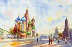 Cathedral of St. Basil in the Red Square Russia. Kremlin and Cathedral of St. Basil in the Red Square Russia. the main tourist attraction in Moscow.  Painting Royalty Free Stock Photography