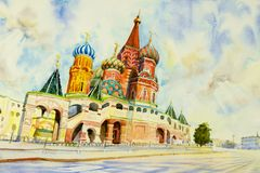 Cathedral of St. Basil in the Red Square Russia. Kremlin and Cathedral of St. Basil in the Red Square Russia. the main tourist attraction in Moscow.  Painting Stock Photo
