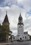 Cathedral of St. Budolf in Aalborg, Denmark. Is constructed at the end of the 14th century in Gothic style stock images