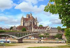 Cathedral st Etienne, abbey st German, (Auxerre France) Royalty Free Stock Photo