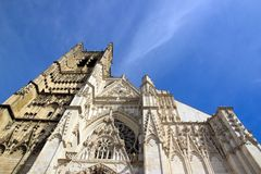 Cathedral St Etienne, Auxerre France. Perspective towards the sky Royalty Free Stock Photo