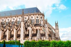 The Cathedral of St Etienne of Bourges, beautiful garden, France. Cathedral in Bourges, beautiful garden France. Sunny day. UNESCO World Heritage List stock photos