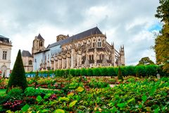 The Cathedral of St Etienne of Bourges, beautiful garden, France stock image