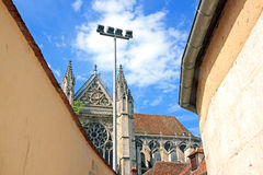 Cathedral St Etienne between walls, Auxerre (France) Royalty Free Stock Photography