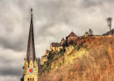 Cathedral of St. Florin and Vaduz Castle Royalty Free Stock Photos