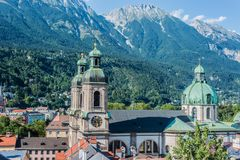Cathedral of St. James in Innsbruck, Austria. Cathedral of St. James Dom zu St. Jakob, an eighteenth-century Baroque cathedral of the Roman Catholic Diocese of Royalty Free Stock Image