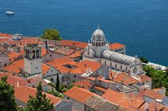 Cathedral of St James among red tiled rooftops of old town Šibenik. Croatian historic town Šibenik with distinctive Cathedral of St James among red tiled Stock Photo