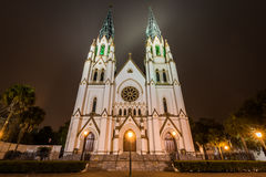 The Cathedral of St, John the Baptist Church at Night in Savanna Royalty Free Stock Image