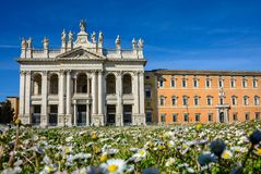 Cathedral of St. John the Baptist at the Lateran Hill in Rome stock photos